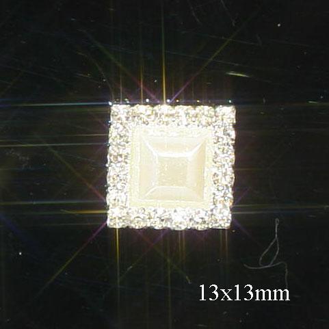 10 Mini Diamante and Pearl Square Embellishments Flat Back