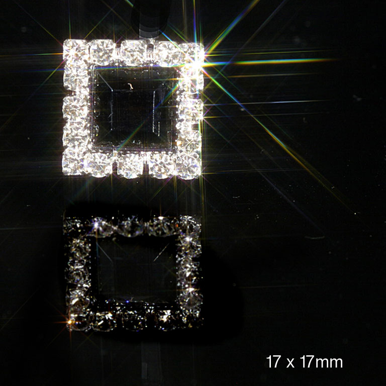 Square Diamante Embellishments With Black Acrylic Centre