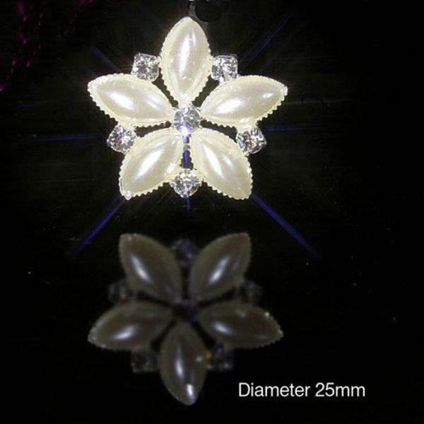 10 Diamante and Pearl Flower Embellishments Quality Rhinestones