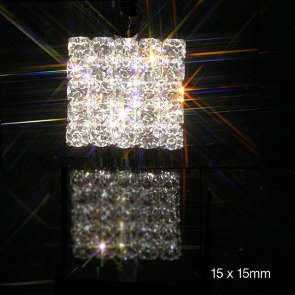 10 Solid Square Rhinestone Crystal Diamante Embellishments
