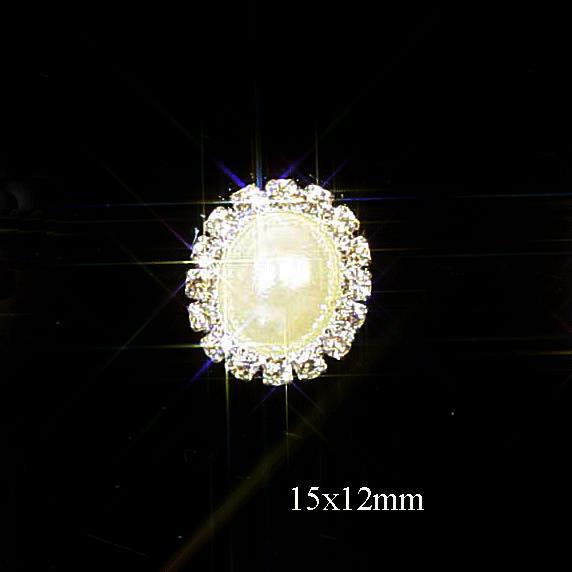 10 Mini Diamante and Pearl Oval Embellishments Rhinestone Crystals