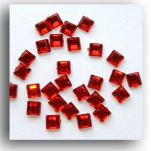 Red Mini Square Crystals. 100 Per Pack