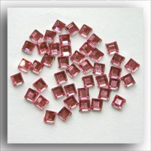 Pink Mini Square Crystals. 100 Per Pack