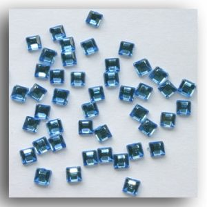 Pale Blue Mini Square Crystals. 100 Per Pack