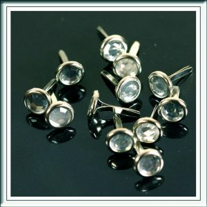 Clear Round Crystal Brads 8mm x 12mm