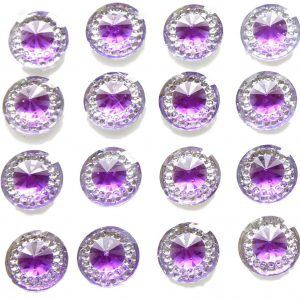 Capri Self Adhesive Amethyst Round wth Mini Crystals 12 mm. 40 Crystals Per Sheet