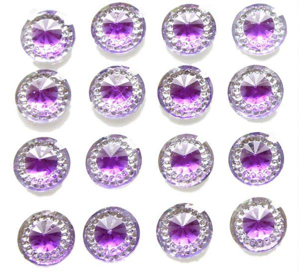 Capri Self Adhesive Amethyst Round wth Mini Crystals 12 mm. 40 Crystals Per Sheet