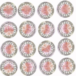 Pisa Self Adhesive Pink Round wth Mini Crystals 12 mm. 40 Crystals Per Sheet