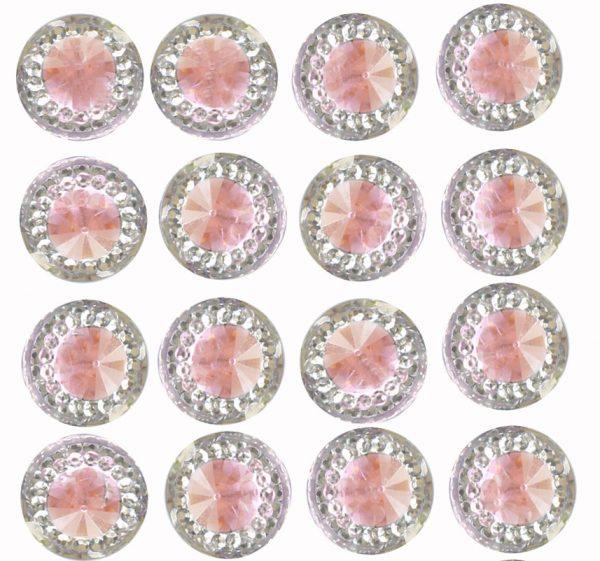 Pisa Self Adhesive Pink Round wth Mini Crystals 12 mm. 40 Crystals Per Sheet