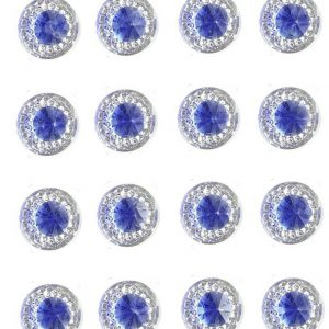 Amalfi Self Adhesive Royal Blue Round wth Mini Crystals 12 mm. 40 Crystals Per Sheet