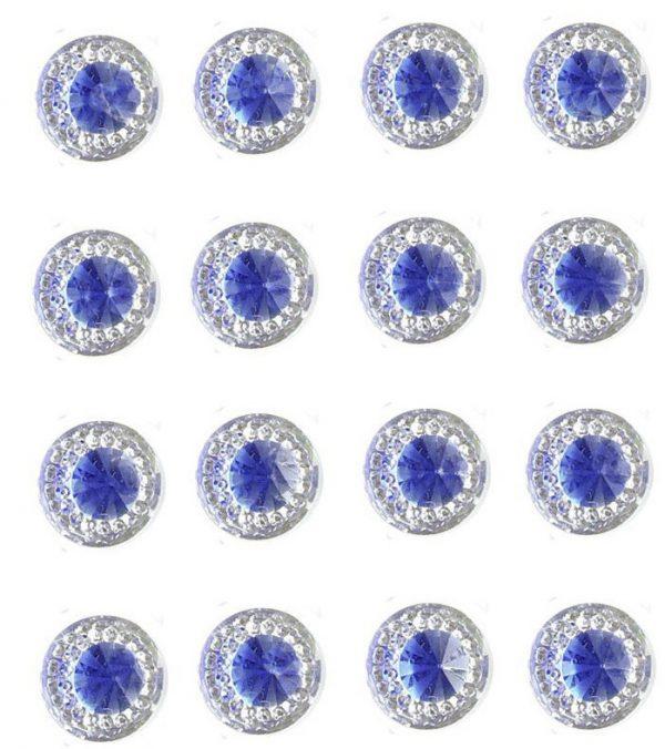 Amalfi Self Adhesive Royal Blue Round wth Mini Crystals 12 mm. 40 Crystals Per Sheet