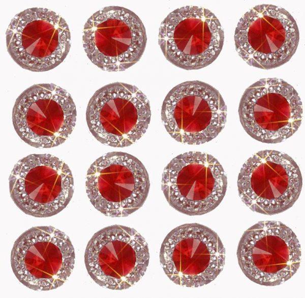 Rimini Self Adhesive Ruby Round Embossed wth Mini Crystals 12 mm. 40 Crystals Per Sheet