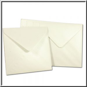 10 Square Pearlescent Snow White Envelopes