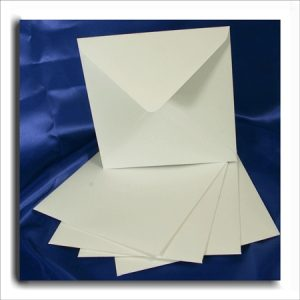 10 White Textured Square Envelopes