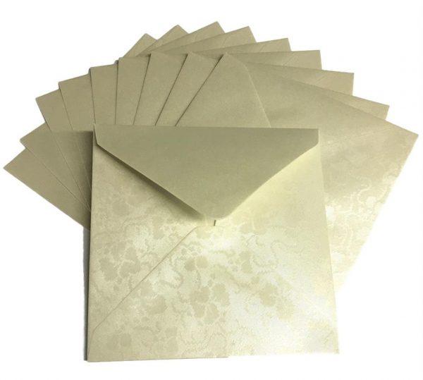 10 Ivory Broderie Square Envelopes