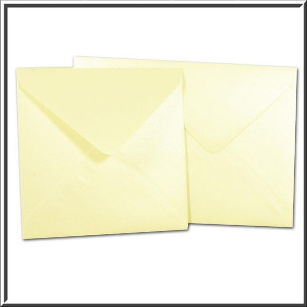 10 Square Pearlescent Opal Ivory Envelopes