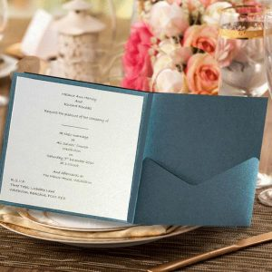 10 FAIDA Square Kings Blue Pocketfold Invitation NO Flap