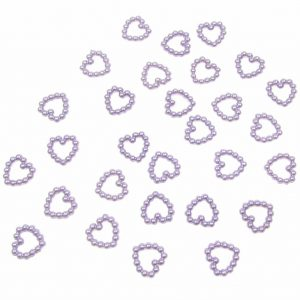 Lilac Pearl Heart Shape Bead Double Sided 11mm. Pack of 50 Beads