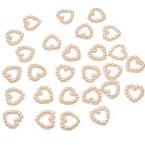 Light Pink Pearl Heart Shape Bead Double Sided 11mm. Pack of 50 Beads