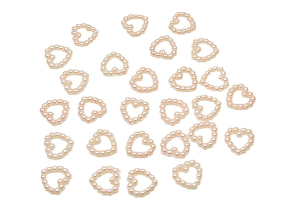 Light Pink Pearl Heart Shape Bead Double Sided 11mm