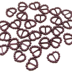 Burgundy Pearl Heart Shaped Ribbon Slider Buckles. Pack of 50 Beads