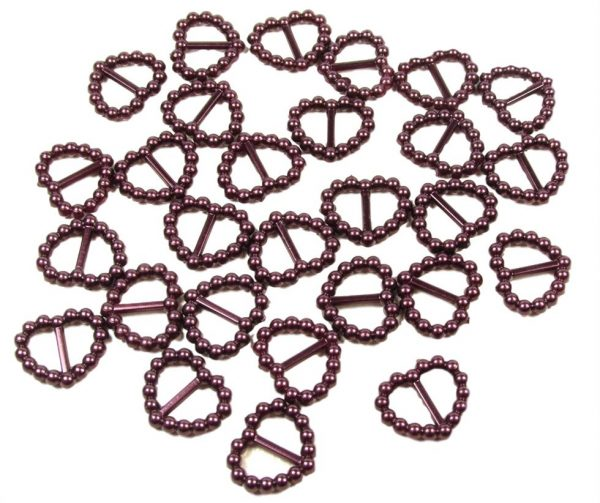 Burgundy Pearl Heart Shaped Ribbon Slider Buckles. Pack of 50 Beads