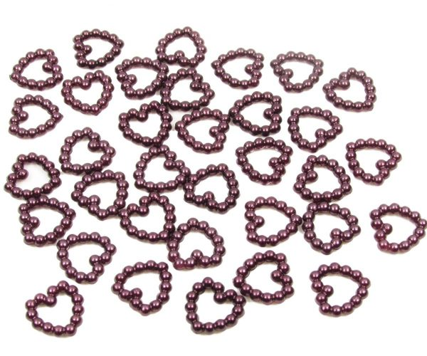 Burgundy Pearl Heart Shape Bead Double Sided 11mm. Pack of 50 Beads