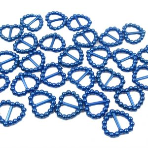Blue Pearl Heart Shaped Ribbon Slider Buckles. Pack of 50 Beads