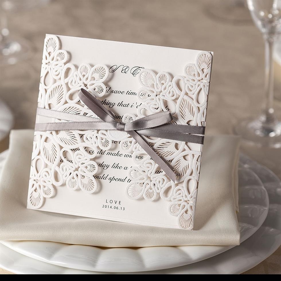 Ribbon And Lace Laser Cut Wedding Invitations