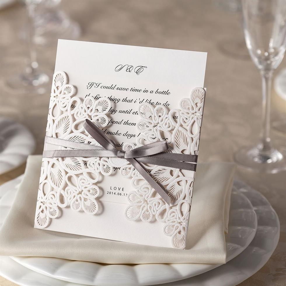 Ribbon and Lace Laser Cut Wedding Invitations - DIY Wedding Invitations