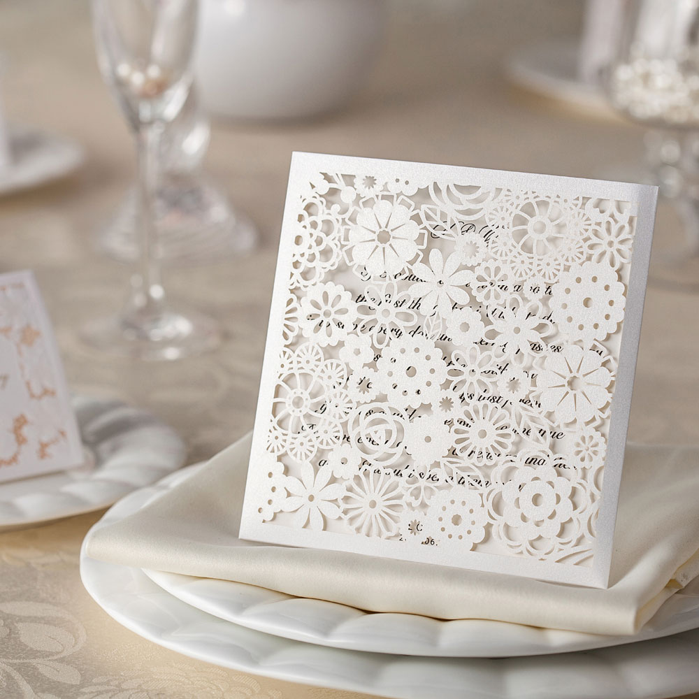 10 Petals Laser Cut Wedding Invitations - DIY Wedding Invitations