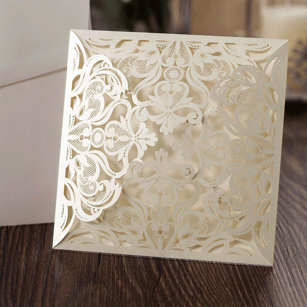 10 ivory square floral blank laser cut invites diy wedding invitations