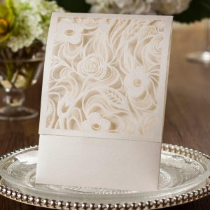 10 CHLOE' Laser Cut Wedding Invitations Pocket