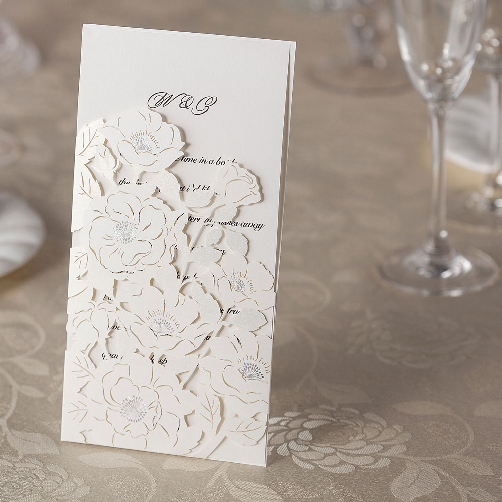 10 Laser Cut DL Pocket Invitations - Laser Cut Wedding Invitations