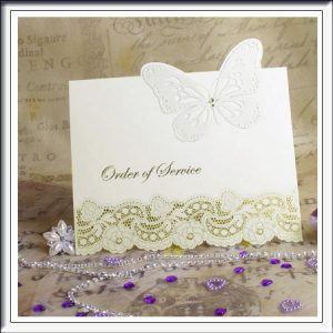 3D Diamante and Butterfly Laser Cut Order of Service