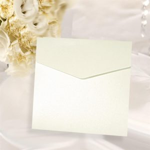 10 Frosty White Pearlised Square Pocketfold Invitations