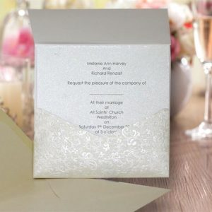 10 JAYANTI Square Ivory Applique Wedding Pocketfold (Portrait) NO Flap