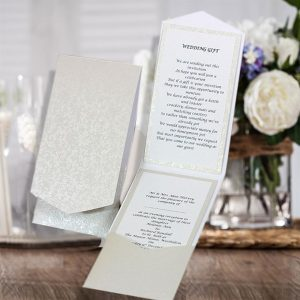 10 HAKANA Dandy White Applique Portrait Pocketfold Invitations