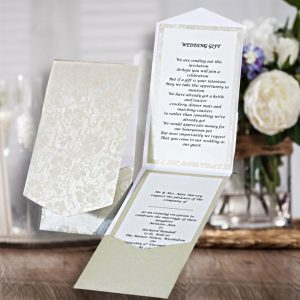 10 HAKANA Dandy White Broderie Portrait Pocketfold Invitations
