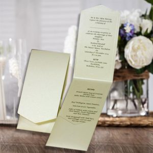 10 HAKANA Quarzo Ivory Pearlised Portrait Pocketfold Invitations