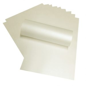 """12"""" x 12"""" Pale Ivory Pearlescent Square Scrapbook Paper 120gsm"""