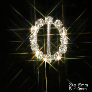 Small Oval Grade A Rhinestone Crystal Ribbon Slider Buckles