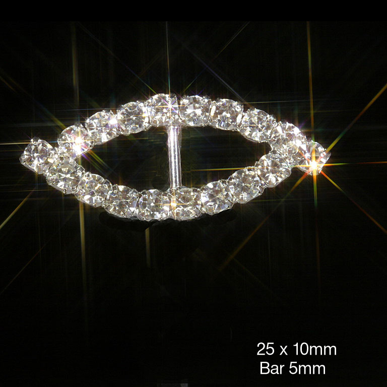 Eye Shape Grade A Rhinestone Diamante Ribbon Slider Buckles