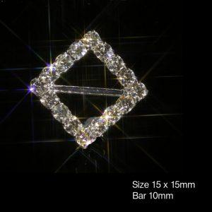 Square Grade A Rhinestone Diamante Ribbon Slider Buckles