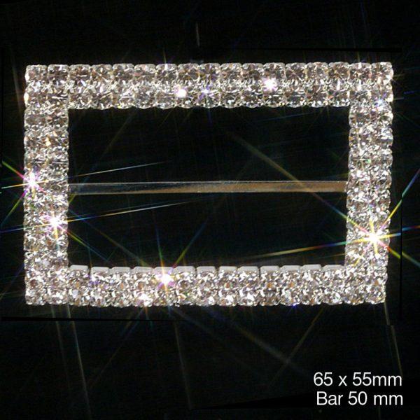 Large Rectangle Grade A Rhinestone Ribbon Buckle / Chair Sash