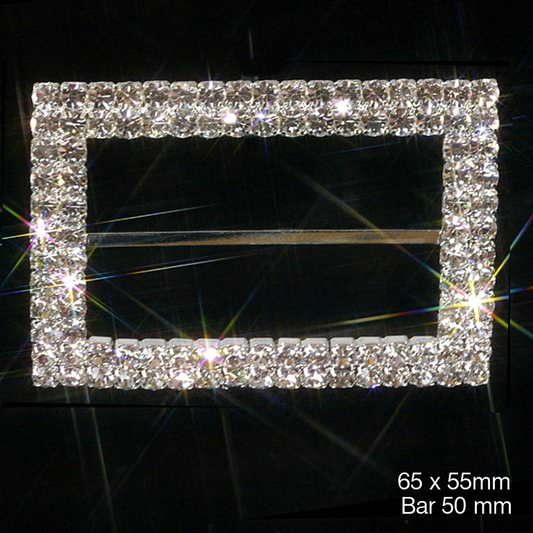 Large Rectangle Grade A Rhinestone Ribbon Buckle / Chair Sash