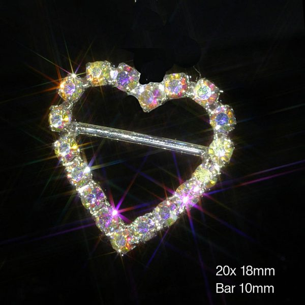 'AB' Heart Ribbon Slider Buckle (HORIZONTAL BAR)