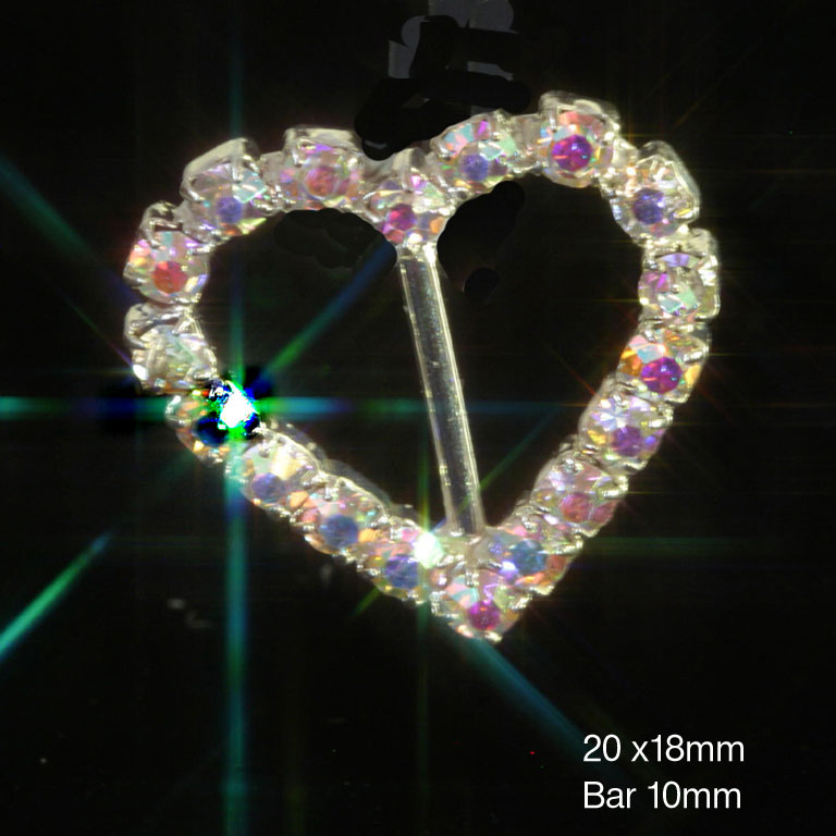 AB Rainbow Heart Diamante Ribbon Slider Buckles (VERTICAL BAR)