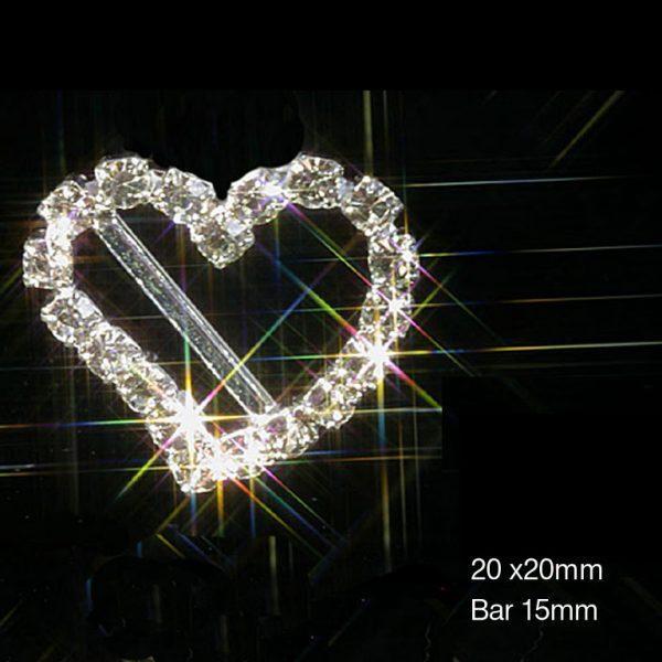 Curved Heart Silver Diamante Rhinestone Ribbon Slider Buckles