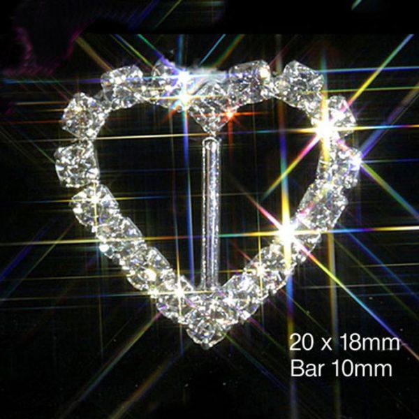 Heart Diamante Rhinestone Ribbon Slider Buckles VERTICAL BAR
